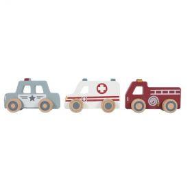 Avārijas dienestu mašīnu komplekts Ambulance, Fire brigade, Police car set