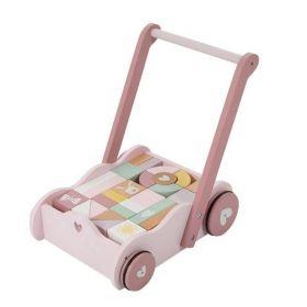 Little Dutch Babywalker with blocks koka ratiņi ar klučiem rozā