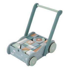 Little Dutch Babywalker with blocks koka ratiņi ar klučiem zili