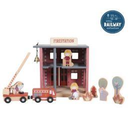 Little Dutch Little Railway Collection Collection Firedepartment Ugunsdzēsēju stacija