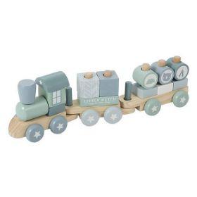 Little Dutch wooden train koka vilciens zils