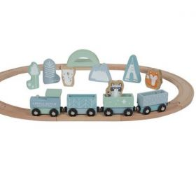 Zils vilcienu komplekts ar sliedēm Train set Adventure blue