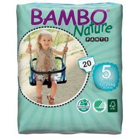 Bambo Nature Ekoloģiskās autiņbiksītes 5 Junior biksītes bez klipšiem!  (12-20 kg), 20 gab.